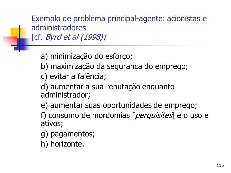 Exemplo de problema principal-agente: acionistas e administradores [cf